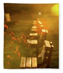 Sun Drenched Bench Fleece Blanket