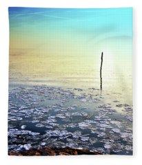 Sun Going Down In Calm Frozen Lake Fleece Blanket