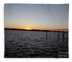 Sun Going Down Near Gov Thomas Johnson Bridge Fleece Blanket