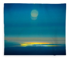 Sun Going Down On The Sound Fleece Blanket