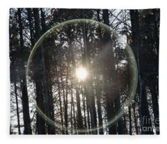 Sun Or Lens Flare In Between The Woods -georgia Fleece Blanket