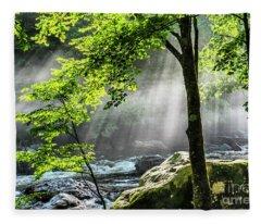 Sun Rays On Williams River  Fleece Blanket
