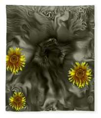 Sun Roses In The Deep Dark Forest Fleece Blanket