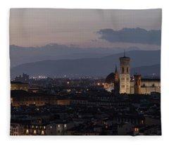 Sun Setting In Florence Italy  Fleece Blanket