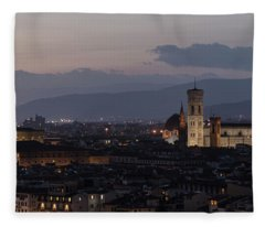 Sun Setting In Florence Italy  Fleece Blanket