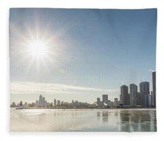 Sun Setting Over Chicago Fleece Blanket