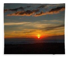 Sun Settling Into The Canyons Fleece Blanket