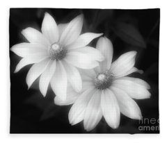 Sun Sisters In Black And White Fleece Blanket