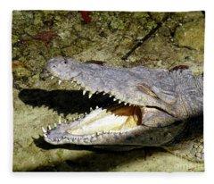 Sunbathing Croc Fleece Blanket