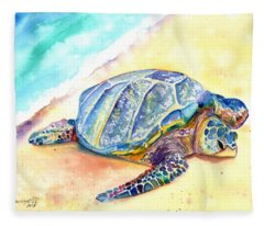 Sunbathing Turtle Fleece Blanket