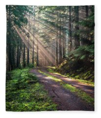 Sunbeam In Trees Portrait Fleece Blanket