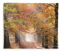 Sunbeams In A Forest In Autumn Fleece Blanket