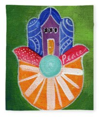 Sunburst Hamsa Fleece Blanket