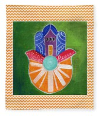 Sunburst Hamsa With Chevron Border Fleece Blanket