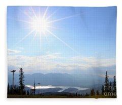 Sunburst Over Lake Dillon Fleece Blanket