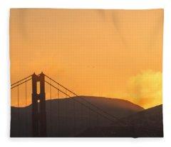 Sundown At The Golden Gate Fleece Blanket
