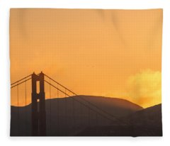 Sundown At The Golden Gate Fleece Blanket