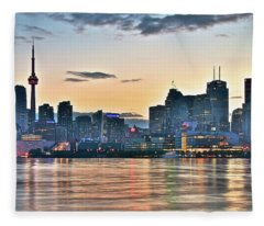 Sundown In Toronto Fleece Blanket