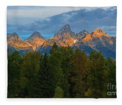 Sundrise On Grand Tetons Fleece Blanket