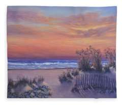 Sunrise Beach Painting Good Morning Glory Fleece Blanket