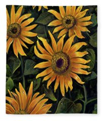 Sunflower 2 Fleece Blanket