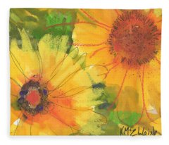 Big Sunflowers Watercolor And Pastel Painting Sf018 By Kmcelwaine Fleece Blanket