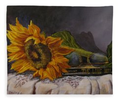 Sunflower And Book Fleece Blanket