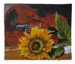 Sunflower And Violin Fleece Blanket