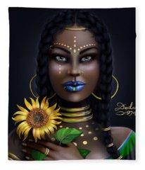 Sunflower Goddess  Fleece Blanket