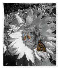 Sunflower In Black And White Fleece Blanket