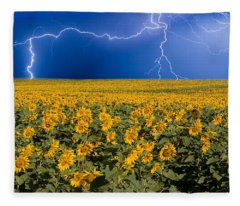 Sunflower Lightning Field  Fleece Blanket