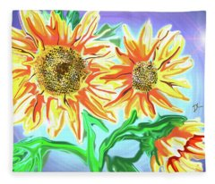 Sunflower On The Computer Fleece Blanket