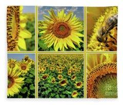 Sunflower Story - Collage Fleece Blanket