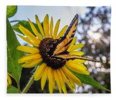 Sunflower Swallowtail Fleece Blanket