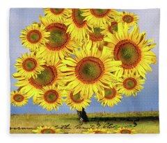 Sunflower Tree Fleece Blanket