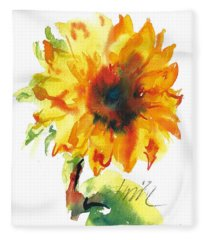 Sunflower With Blues Fleece Blanket