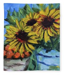 Sunflowers And Oranges Fleece Blanket