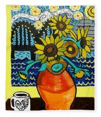 Sunflowers And Starry Memphis Nights Fleece Blanket