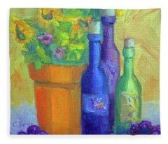 Sunflowers And Wine Fleece Blanket