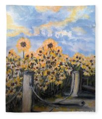 Sunflowers At Rest Stop Near Great Sand Dunes Fleece Blanket
