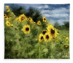 Sunflowers Bowing And Waving Fleece Blanket