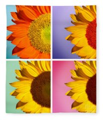 Sunflowers Collage Fleece Blanket
