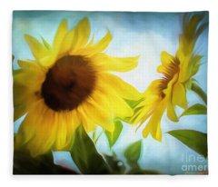 Sunflowers Duet Fleece Blanket