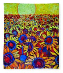 Sunflowers Field At Sunrise Fleece Blanket