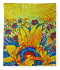 Sunflowers Field In Sunrise Light Fleece Blanket