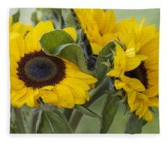 Sunflowers Helianthus Annus Fleece Blanket