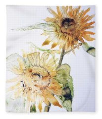 Sunflowers II Uncropped Fleece Blanket