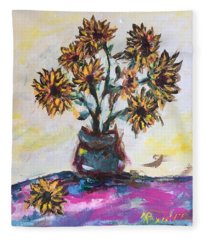 Sunflowers In A Blue Pot Fleece Blanket