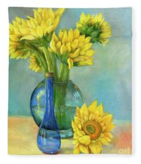 Sunflowers In A Glass Vase Number Two Fleece Blanket