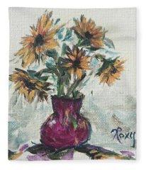 Sunflowers In A Pink Vase Fleece Blanket